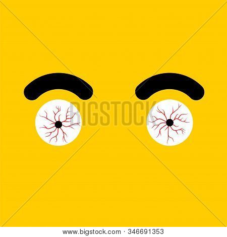 Red Eye isolated. Bulging eyes. Bursting vessels in eyes from tension. vector illustration stock photo