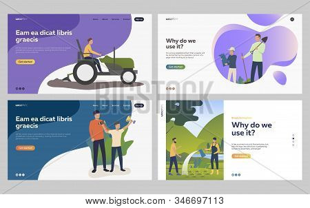 Set of people farming and gardening. Flat vector illustrations of family celebrating child achievement. Farming, agriculture, sport activities concept for banner, website design or landing web page stock photo