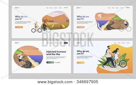 Set of people travelling on bicycles. Flat vector illustrations of friends cycling together in countryside. Riding bicycle, leisure activities concept for banner, website design or landing web page stock photo