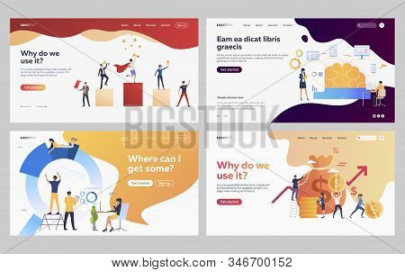 Set of managers analyzing project. Flat vector illustrations of business people developing digital application. Teamwork, development, success concept for banner, website design or landing web page stock photo