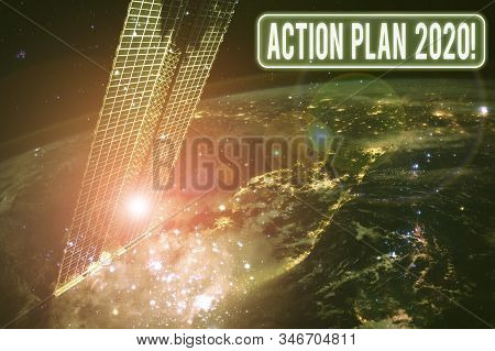 Text sign showing Action Plan 2020. Conceptual photo proposed strategy or course of actions for current year Elements of this image furnished by NASA. stock photo