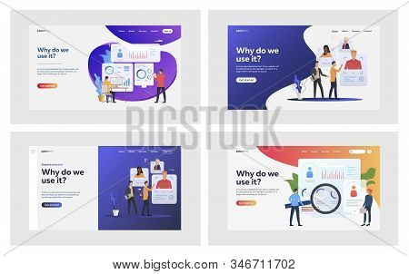 Personnel selection set. Employers, recruit agents analyzing candidates profiles. Flat vector illustrations. Recruiting agency, human resource concept for banner, website design or landing web page stock photo