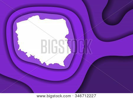 Poland map abstract schematic from violet layers paper cut 3D waves and shadows one over the other. Layout for banner, poster, greeting card. Vector illustration. stock photo