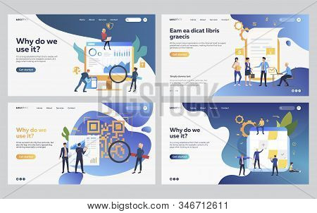 Set of managers analyzing application statistics. Flat vector illustrations of business people creating project. Analytics, planning concept for banner, website design or landing web page stock photo