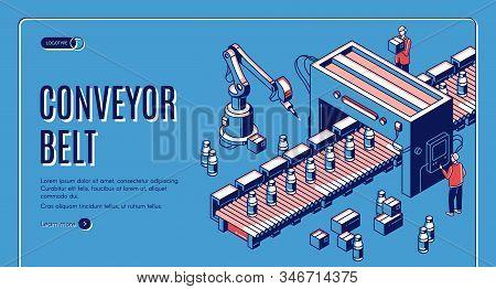 Factory conveyor belt isometric landing page. Robotic arms packing milk bottles production on transporter line. Automation, smart industrial robot assistants. 3d illustration, line art, banner. stock photo