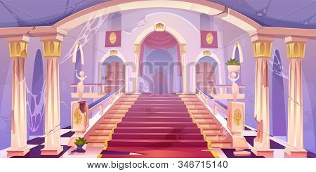 Abandoned castle staircase, empty old palace hall entrance interior with spider web, cracked pillars, statues, dilapidated rag and wood doors, medieval antique architecture Cartoon illustration stock photo