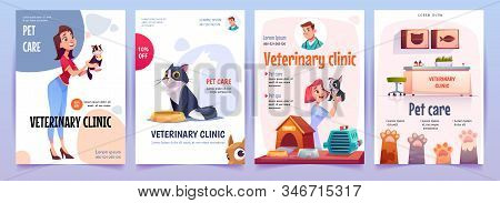 Veterinary clinic banners set. Vet service, cats and dogs care, spa procedures for pets in therapeutic office, animals health care, hospital advertising poster design. Cartoon illustration stock photo