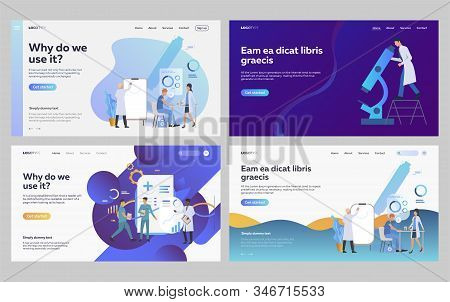 Set of doctors examining patient health. Flat vector illustrations of people making biochemical analysis. Healthcare, biochemistry, research concept for banner, website design or landing web page stock photo