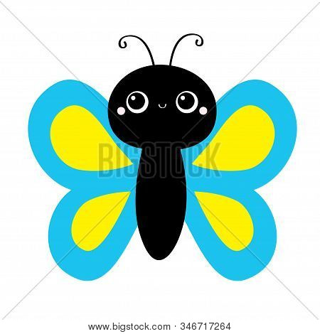 Butterfly flying insect icon. Baby kids collection. Blue Yellow color. Cute cartoon kawaii funny animal character. Smiling face. Flat design. White background. Isolated. Vector stock photo