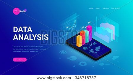Data analysis isometric landing page concept. 3d graph data on smartphone screen, statistics report, icons on blue. Vector illustration for mobile app, website template, SEO, marketing infographic stock photo