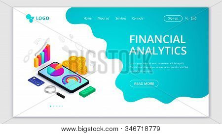 Financial analytics isometric landing page concept. 3d graph data on smartphone screen, money, icons, abstract fluid background. Vector illustration for mobile app, website template, marketing stock photo