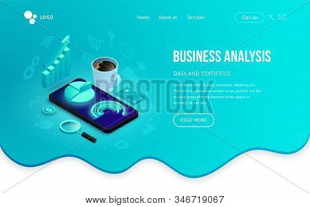 Business analysis tools isometric landing concept. 3d graph data on smartphone screen on abstract fluid background. Vector illustration for mobile app, website template, SEO, marketing infographic stock photo