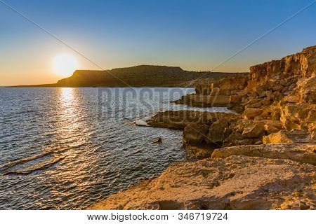 Cape Greco on Cyprus at sunset - nature background stock photo