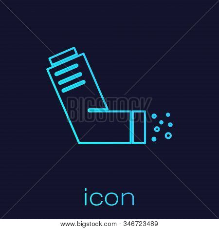 Turquoise line Inhaler icon isolated on blue background. Breather for cough relief, inhalation, allergic patient. Medical allergy asthma inhaler spray. Vector Illustration stock photo