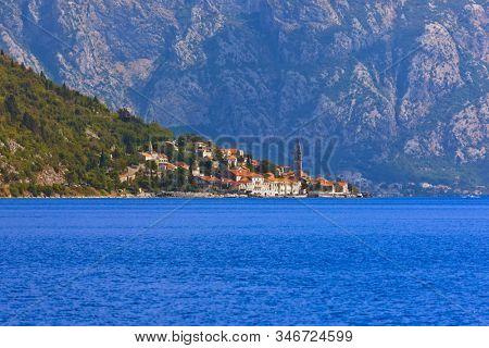 Village Perast on coast of Boka Kotor bay - Montenegro - nature and architecture background stock photo