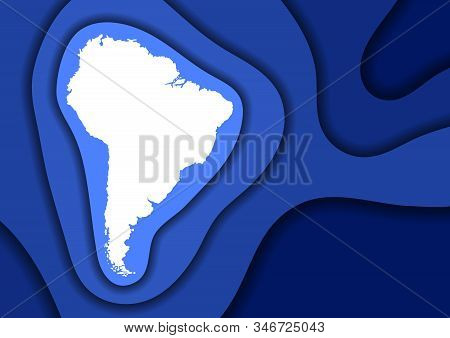 South America map abstract schematic from blue layers paper cut 3D waves and shadows one over the other. Layout for banner, poster, greeting card. Vector illustration. stock photo