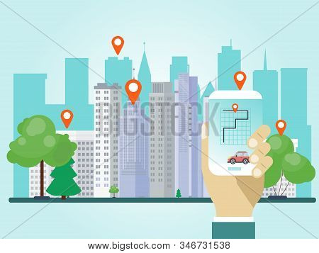 Hand holding phone with car sharing app vector illustration. Hands hold smartphone with location marks share auto in city stock photo