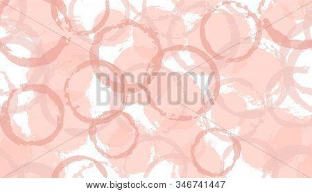 Faded hand drawn circles geometry fabric print. Circular splotch overlapping elements vector seamless pattern. Grunge texture circles geometry fabric seamless. stock photo