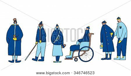 Adult persons isolated on white background. Cute characters dressed in winter warm trendy clothes. Diversity people with different ages and features of appearance. Vector illustration in doodle style. stock photo