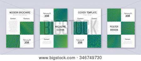 Business brochure design template set. Green abstract lines on dark background. Adorable brochure design. Delightful catalog, poster, book template etc. stock photo