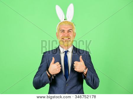 Thumbs ups for Easter. Happy boss enjoy celebration. Businessman show thumbs ups hands. Happy holiday celebration. Spring celebration and tradition. Springtime. Easter day celebration stock photo