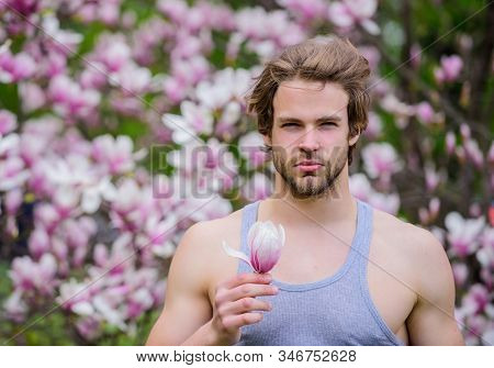 Man flowers background defocused. Botany nature. Male beauty. Hipster enjoy blossom aroma. Spring beauty. Hairdo styling. Hair care and beauty. Unshaven man magnolia bloom. Beautiful hairstyle stock photo