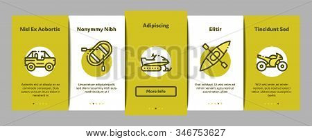 Extreme Sport Activity Onboarding Mobile App Page Screen Vector. Bike And Crash Helmet, Parachute And Hang-glider Equipment For Extreme Active Concept Linear Pictograms. Color Contour Illustrations stock photo