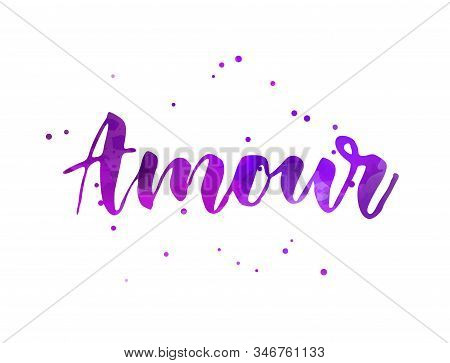 Amour (Love in French) - handwritten modern calligraphy watercolor text.  With abstract dots decoration.  Purple colored. stock photo
