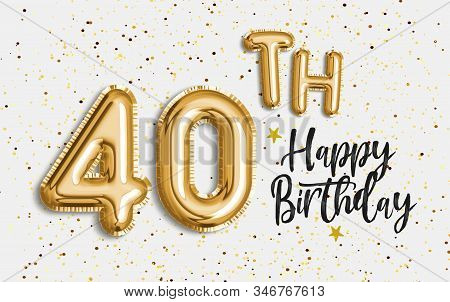 Happy 40th birthday gold foil balloon greeting background. 40 years anniversary logo template- 40th celebrating with confetti. Photo stock. stock photo