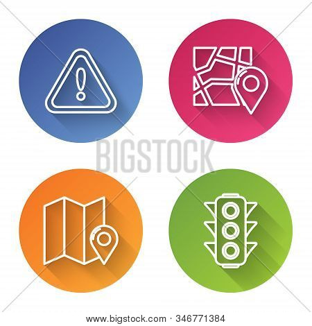 Set line Exclamation mark in triangle, Folded map with location marker, Folded map with location marker and Traffic light. Color circle button. Vector stock photo