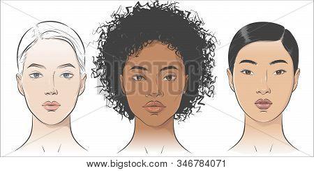 Vector Set of women portraits African African-american, asian, European. stock photo