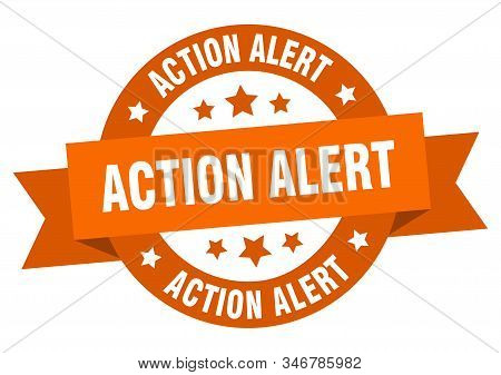 action alert ribbon. action alert round orange sign. action alert stock photo