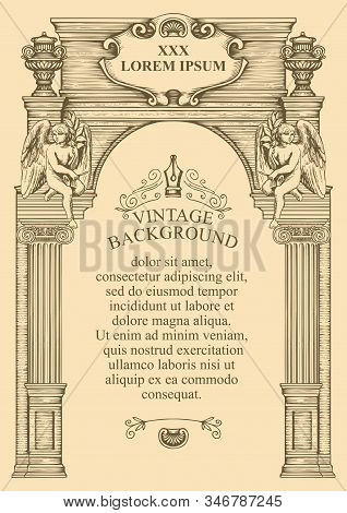 Vintage background or frame for a diploma or certificate in the form of the facade of an old building with angels. Hand drawn vector illustration with an architectural construction and place for text stock photo