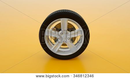 Car wheel isolated on yellow background. Alloy wheels tire auto. Minimalist creative concept. 3d illustration. stock photo