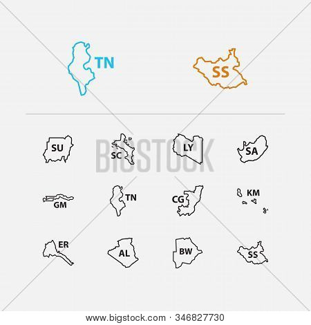 Cartography icons set. Algeria and cartography icons with the gambia, tunisia and south africa. Set of patriotic for web app logo UI design. stock photo