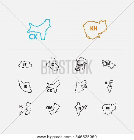 Cartography icons set. Bhutan and cartography icons with oman, iraq and macau. Set of geographical for web app logo UI design. stock photo
