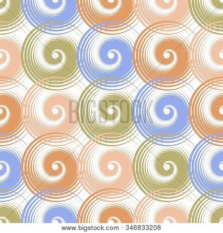 Spiral swirls blue brown complicated seamless pattern vector design. Round spiral scrolls, circle swirls geometric elements, curly vortex tiles. Cute swirl scrolls abstract background seamless pattern. stock photo