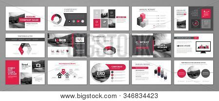 Red abstract presentation slide templates. Infographic elements template  set for web, print, annual report brochure, business flyer leaflet marketing and advertising template. Vector Illustration stock photo