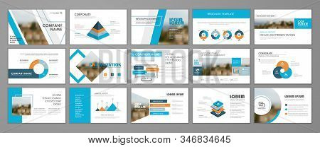 Blue abstract presentation slide templates. Infographic elements template  set for web, print, annual report brochure, business flyer leaflet marketing and advertising template. Vector Illustration stock photo
