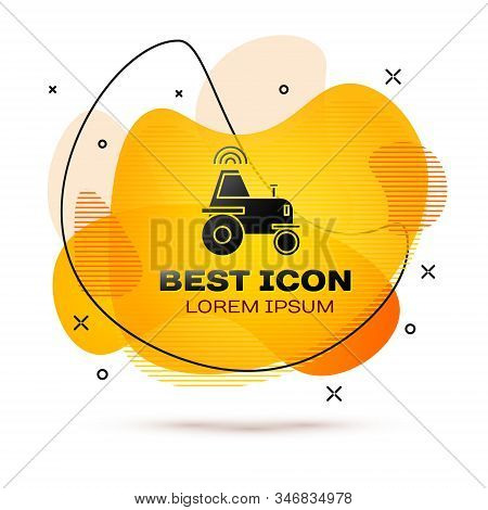 Black Self driving wireless tractor on a smart farm icon isolated on white background. Smart agriculture implement element. Abstract banner with liquid shapes. Vector Illustration stock photo