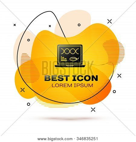 Black Genetic engineering modification on laptop icon isolated on white background. DNA analysis, genetics testing, cloning. Abstract banner with liquid shapes. Vector Illustration stock photo