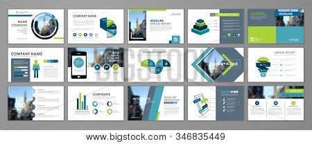 Blue and green abstract presentation slide templates. Infographic elements template  set for web, print, annual report brochure, business flyer leaflet marketing and advertising template. Vector Illustration stock photo