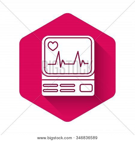 White Computer monitor with cardiogram icon isolated with long shadow. Monitoring icon. ECG monitor with heart beat hand drawn. Pink hexagon button. Vector Illustration stock photo