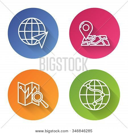 Set line Location on the globe, Folded map with location marker, Folded map with location marker and Location on the globe. Color circle button. Vector stock photo