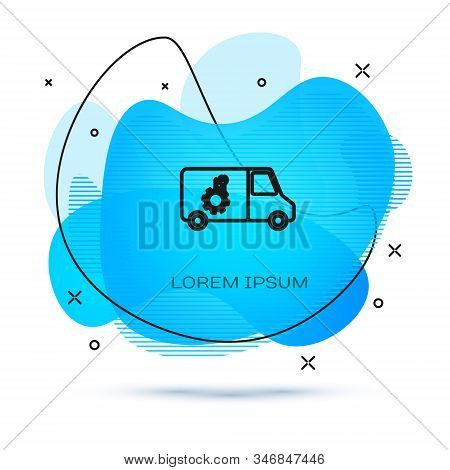 Line Car service icon isolated on white background. Repair service auto mechanic. Maintenance sign. Abstract banner with liquid shapes. Vector Illustration stock photo
