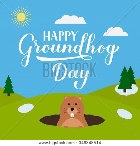 Groundhog Day vector illustration with modern calligraphy hand lettering and cute cartoon groundhog. Easy to edit template for typography poster, greeting card, banner, flyer, postcard, etc. stock photo