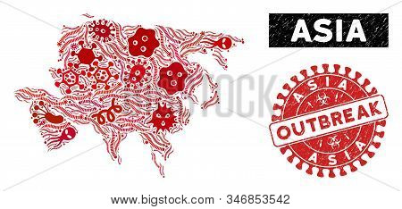 Pathogen mosaic Asia map and red grunge stamp watermark with OUTBREAK message. Asia map collage created with randomized pandemic elements. Red round OUTBREAK seal stamp with grunge texture. stock photo