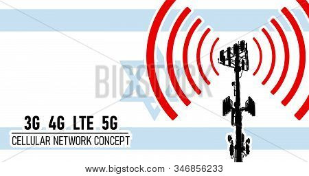 Cellular mobile network tower - connection concept for Israel, vector illustration of 3g 4g LTE 5g harmful waves from the tower, danger of 5G networks idea with colors blue, white stock photo