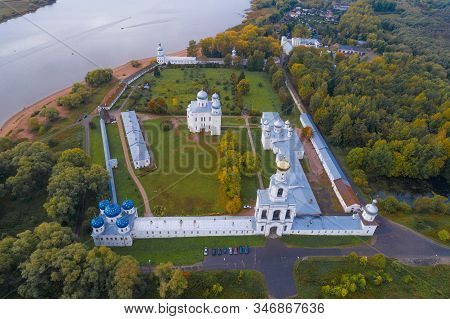 Above the ancient St. George Monastery on a September day (aerial photography). Veliky Novgorod, Russia stock photo