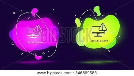 Line Computer monitor with exclamation mark icon isolated on black background. Alert message smartphone notification. Abstract banner with liquid shapes. Vector Illustration stock photo